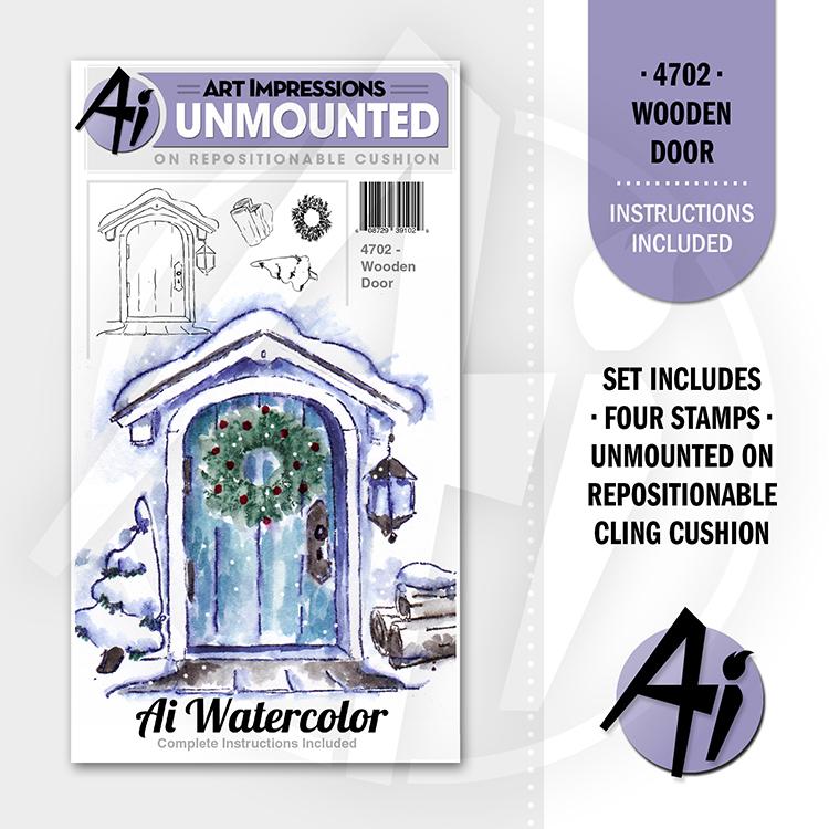 AI - Watercolor - Wooden Door Stamp Set (4702)