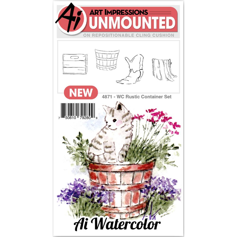 AI -  Watercolor Stamps - Rustic Container Set