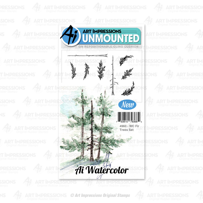AI - Watercolor - Fir Trees Stamp Set (4960)