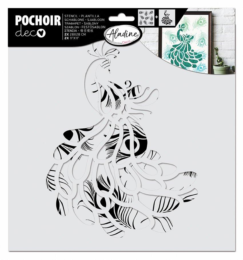 ^Aladine - Large Layering Stencil - Peacock, 2PC
