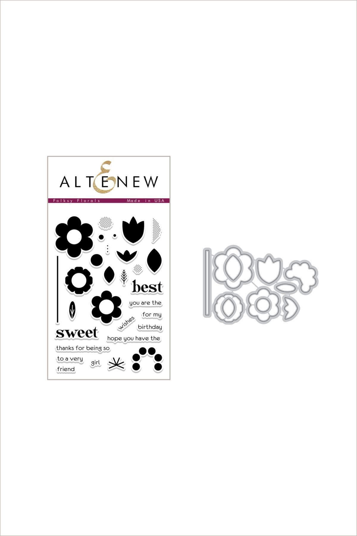 *Altenew - Folksy Floral Stamp & Die Bundle