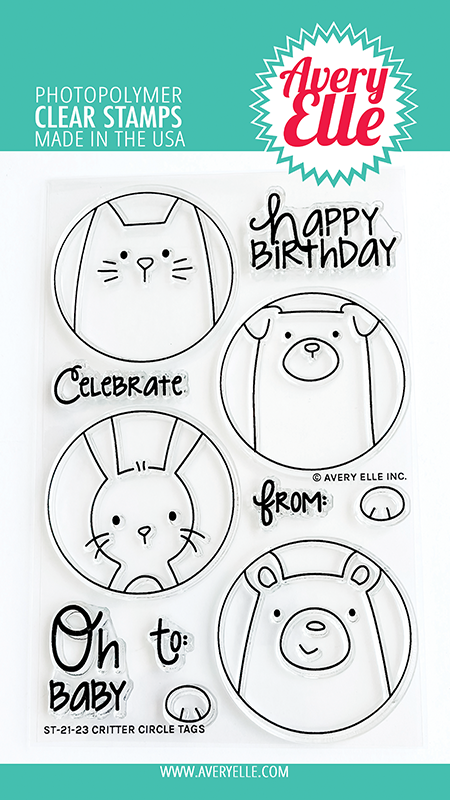 Avery Elle - Clear Stamps - Critter Circle Tags