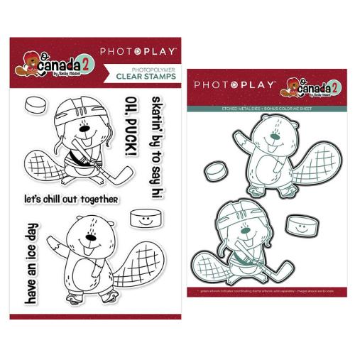 PhotoPlay O Canada 2 - Beaver & Hockey Stamp and Die Bundle