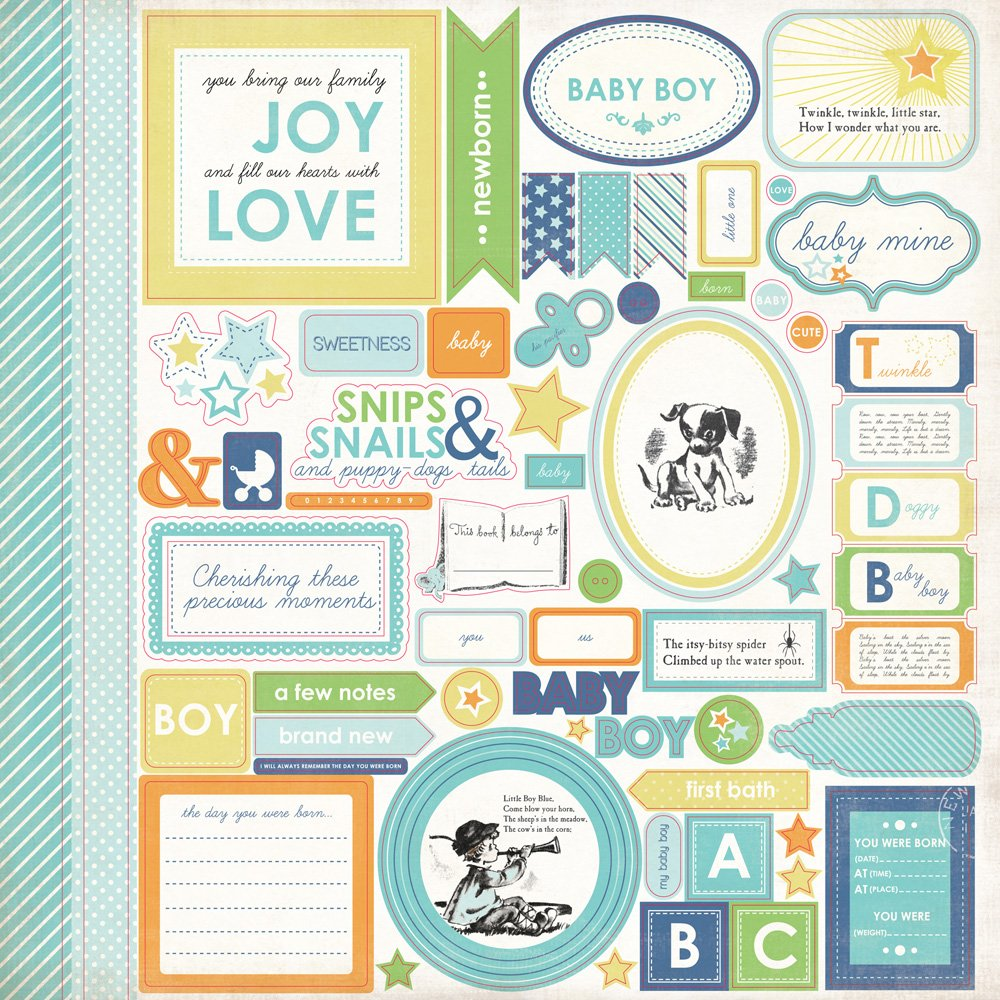 ^Carta Bella Element Sticker Sheet - Baby Mine Boy