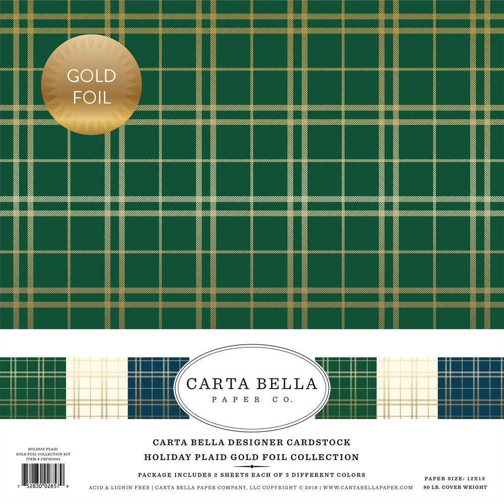 Carta Bella Paper -  Holiday Plaid - Gold Foil 12x12 Collection Kit