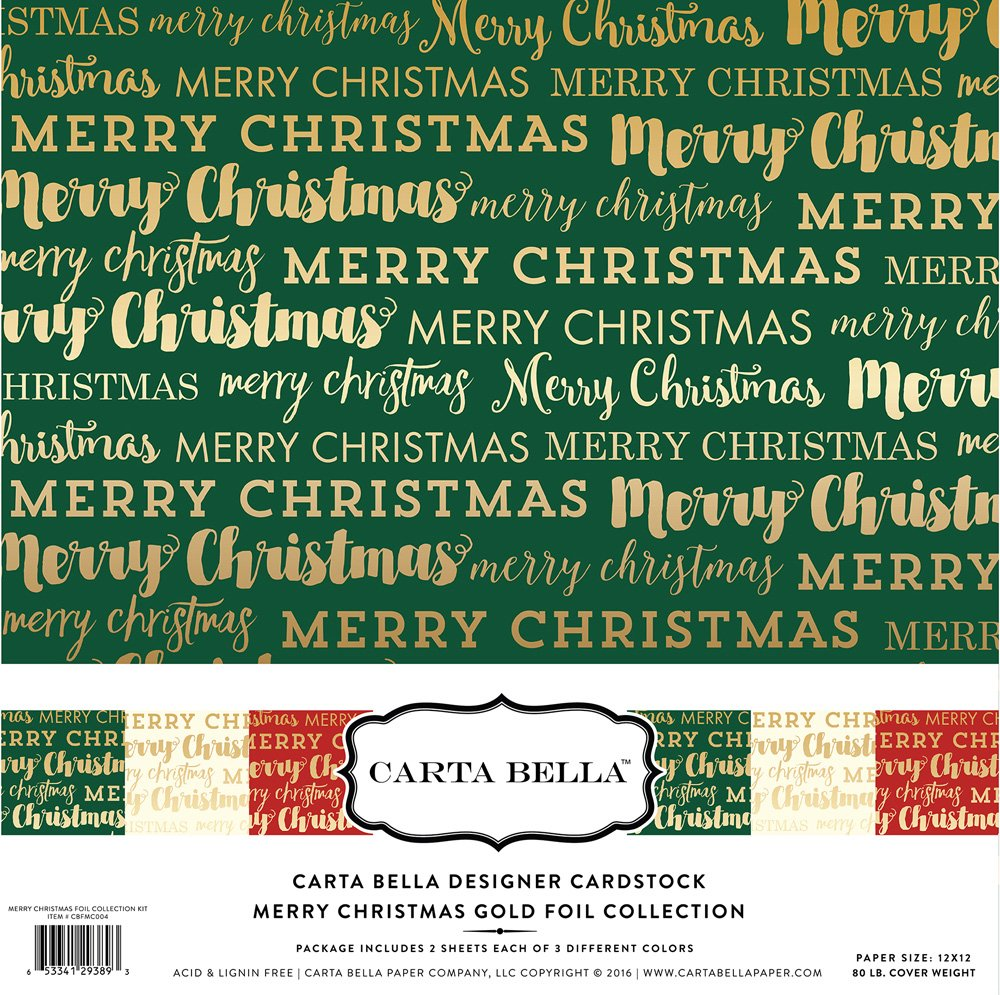 Carta Bella Paper -  Merry Christmas - Gold Foil 12x12 Collection Kit