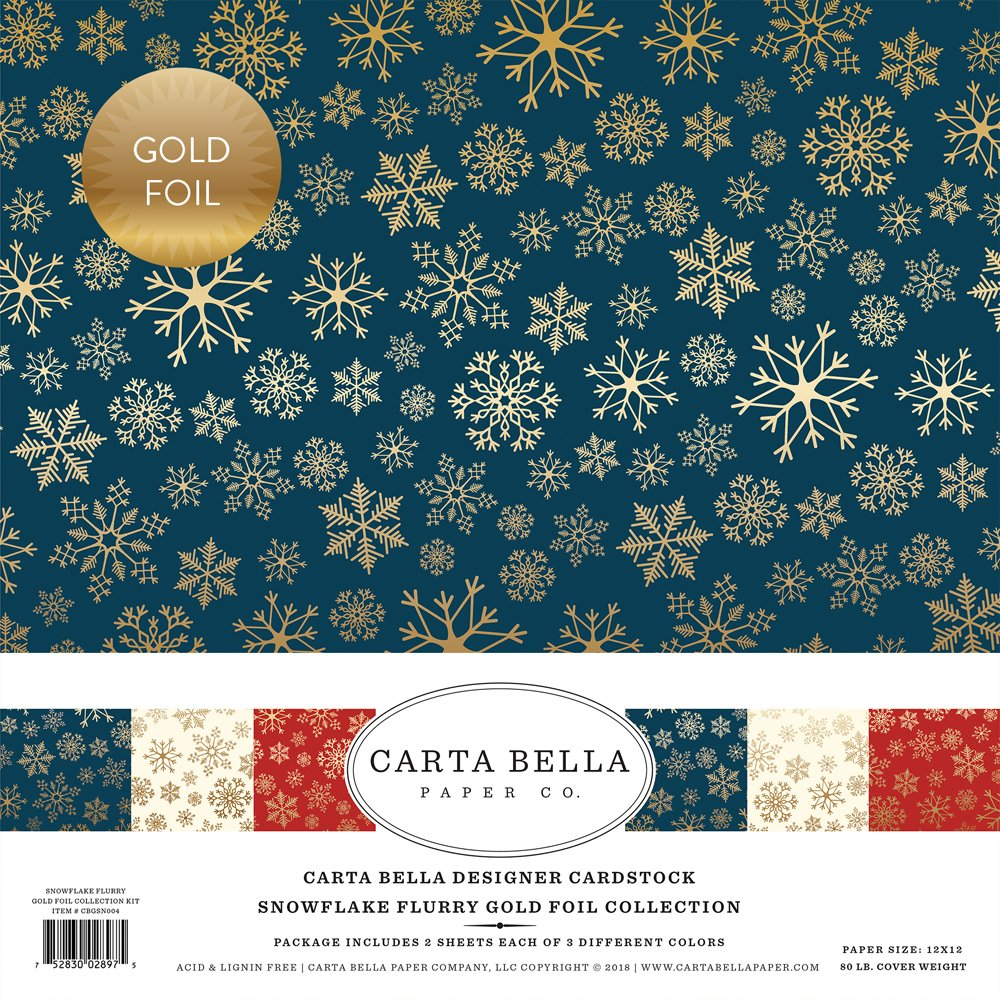 Carta Bella Paper -  Snowflake Flurry Gold Foil - 12x12 Collection Kit