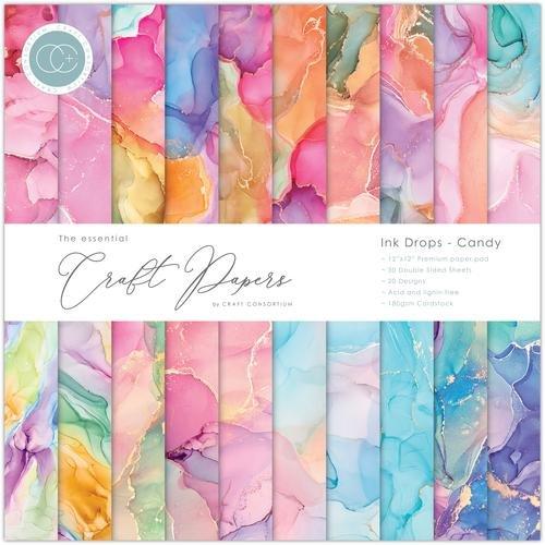 Craft Consortium - Ink Drops - Candy - 12x12 Paper Pad