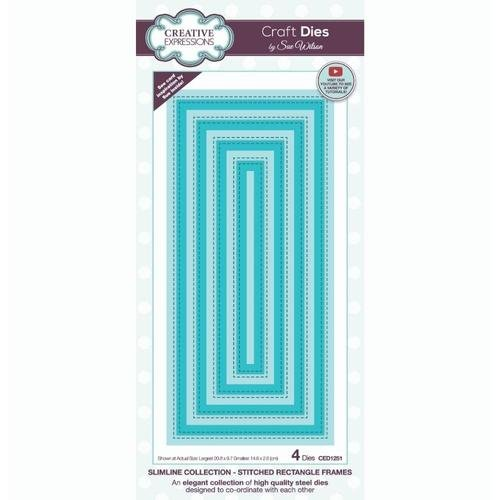 Creative Expressions - Slimline Dies - Stitched Rectangle Frames