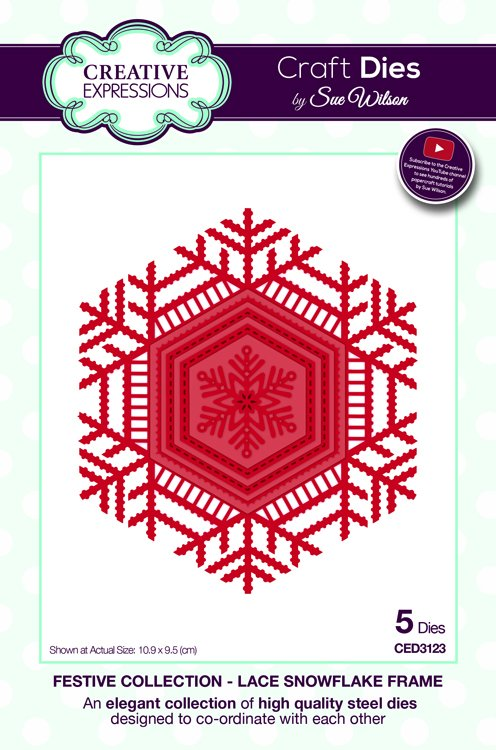 Creative Expressions Craft Dies - Festive Collection - Lace Snowflake Frame
