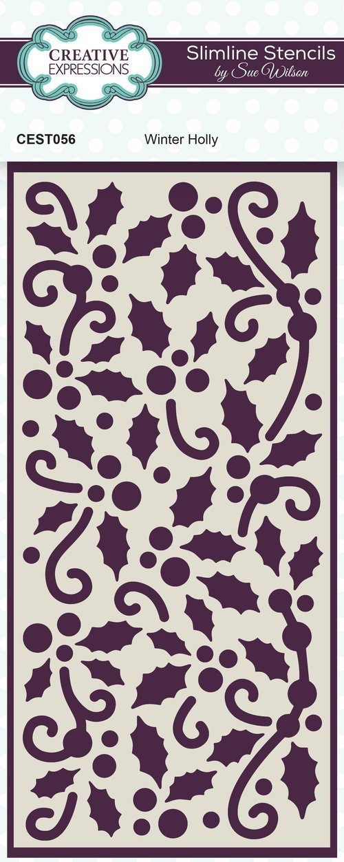 Creative Expressions - Slimline Stencil - Winter Holly