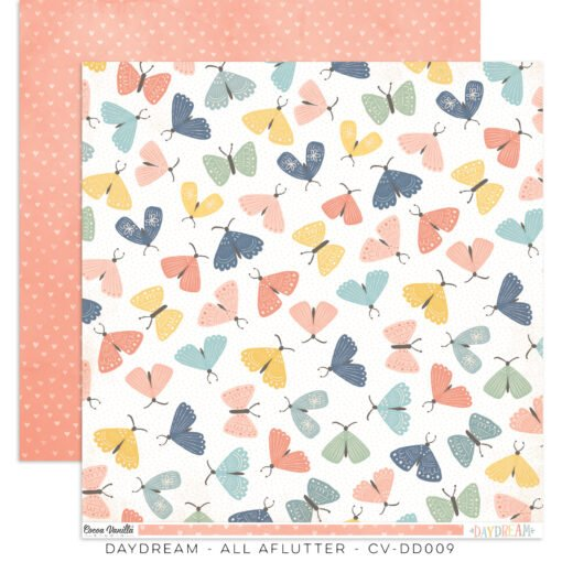 ^Cocoa Vanilla - DAYDREAM - All Aflutter - 12x12 Double-Sided Paper