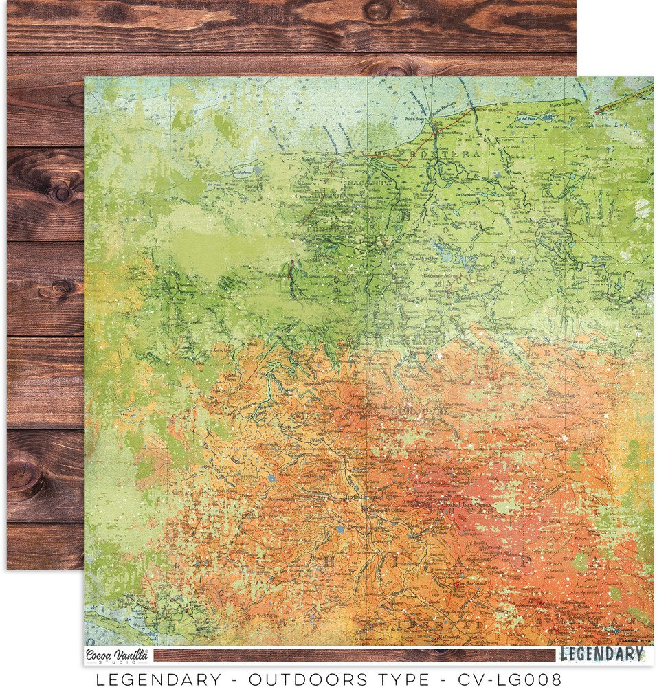 Cocoa Vanilla Legendary - Outdoors Type - 12x12 Double-Sided Paper