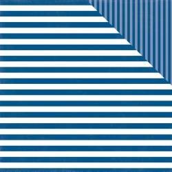 ^Echo Park Dots & Stripes - Blue Lagoon Stripe - 12x12 Double-Sided Paper