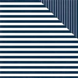 ^Echo Park Dots & Stripes - Nautical Navy Stripe - 12x12 Double-Sided Paper