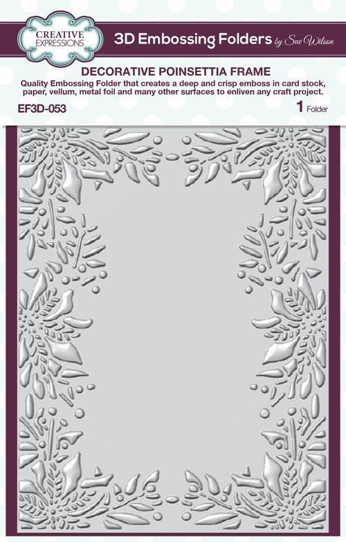 3D Embossing Folder - Decorative Poinsettia Frame