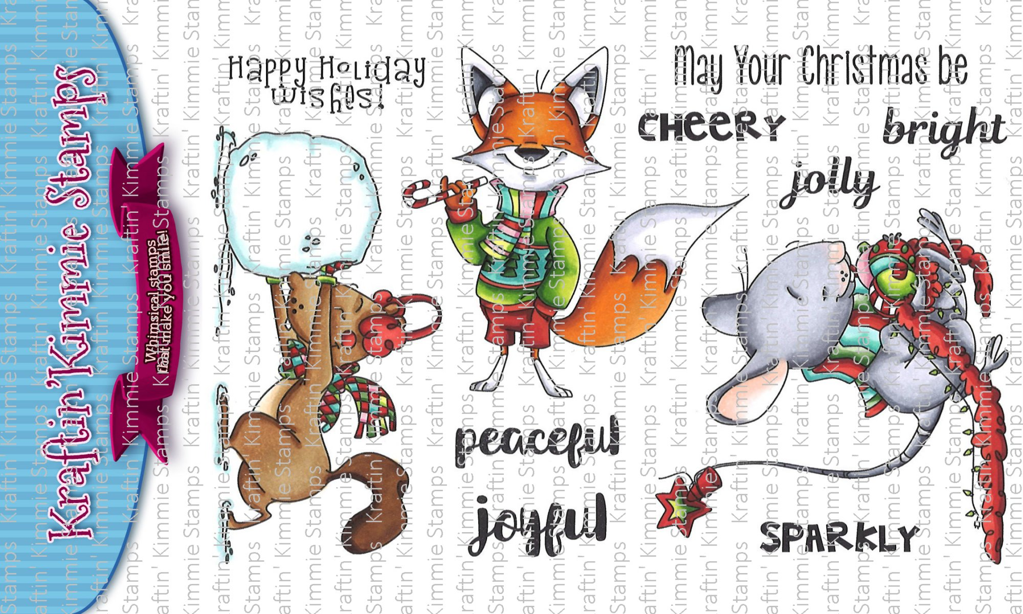 ^Kraftin' Kimmie - Stamps - Furry Holiday Wishes