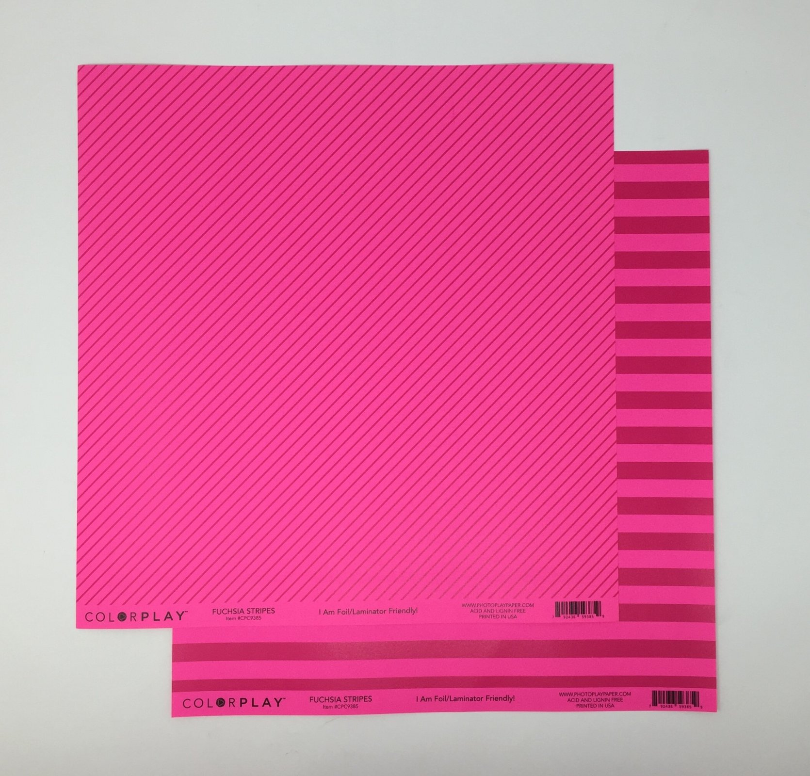 ^ColorPlay 12x12 Cardstock - Fuchsia Stripes (CLEARANCE)
