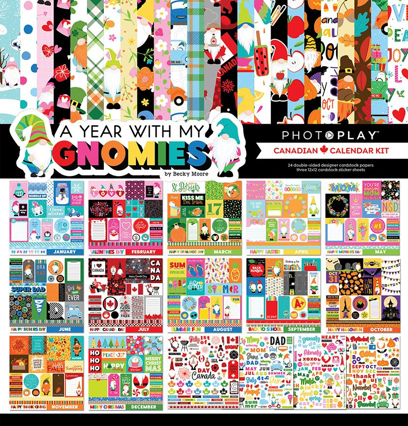 PhotoPlay - A Year With My Gnomies Canadian Calendar Kit