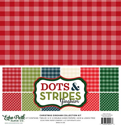 Echo Park - Dots & Stripes Christmas Gingham - 12x12 Paper Pack