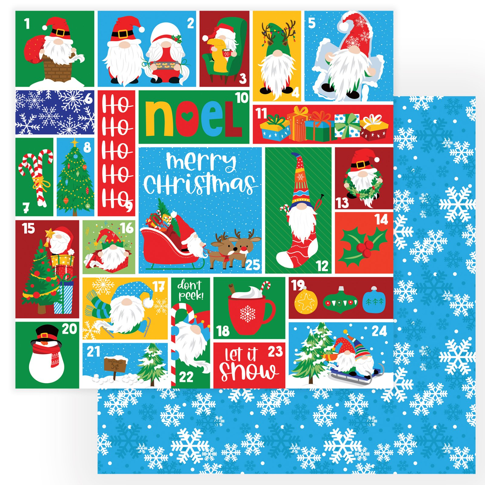 PhotoPlay Gnome For The Holidays - Countdown - 12x12 Double-Sided Paper