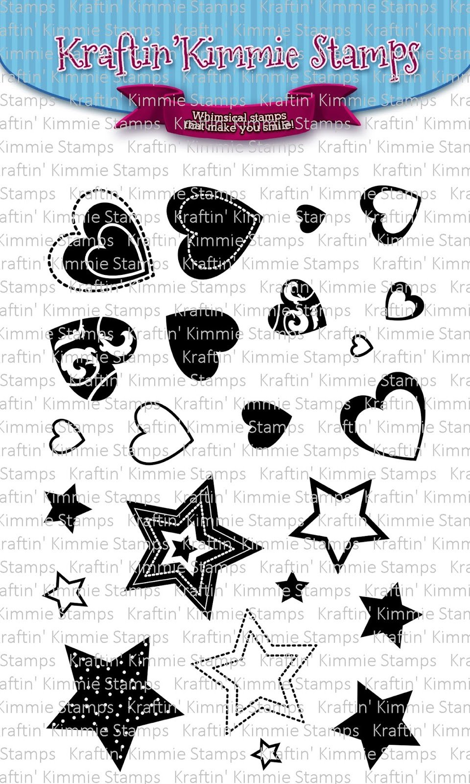 ^Kraftin'  Kimmie - Stamps - Hearts and Stars