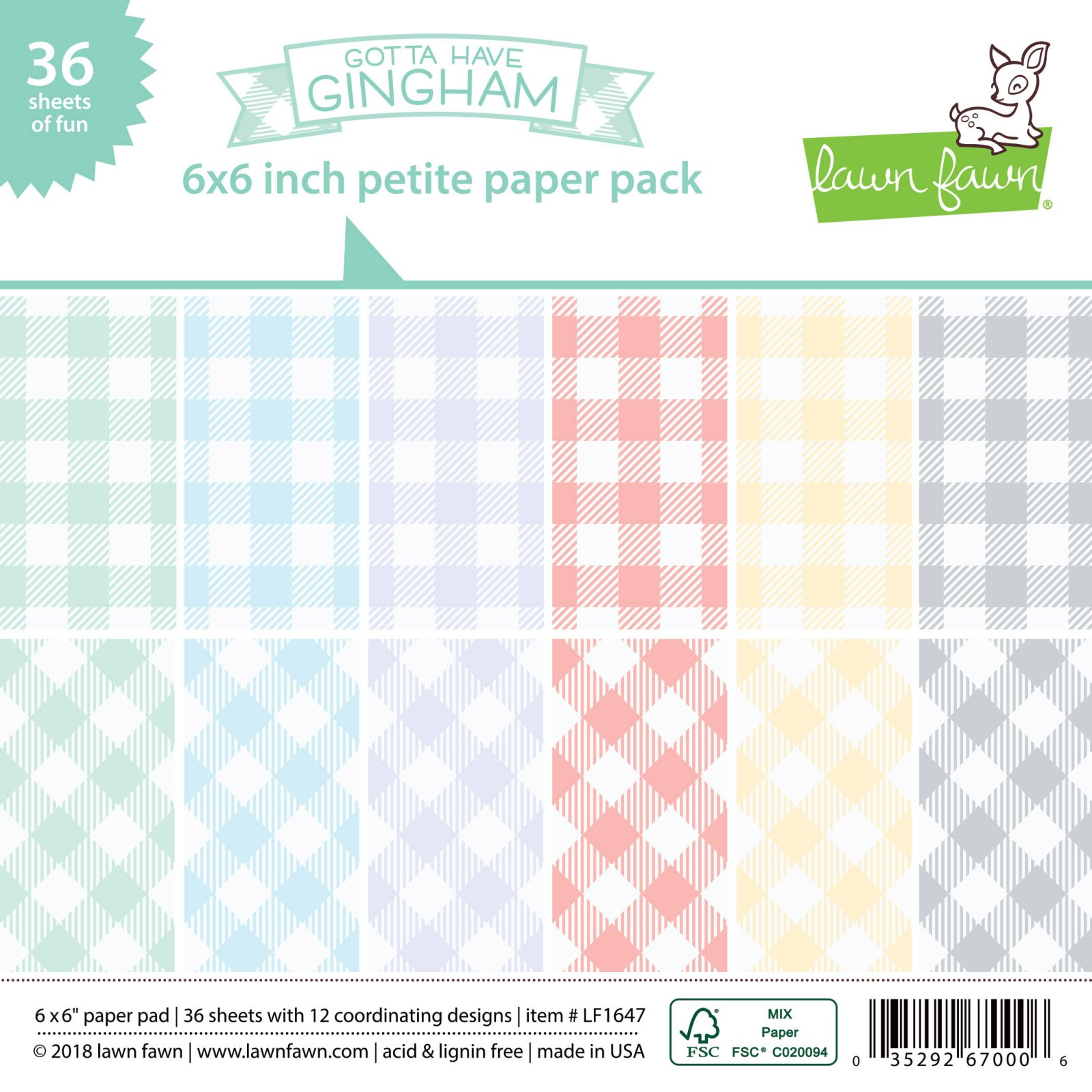 Lawn Fawn - Gotta Have Gingham 6x6 Paper Pack