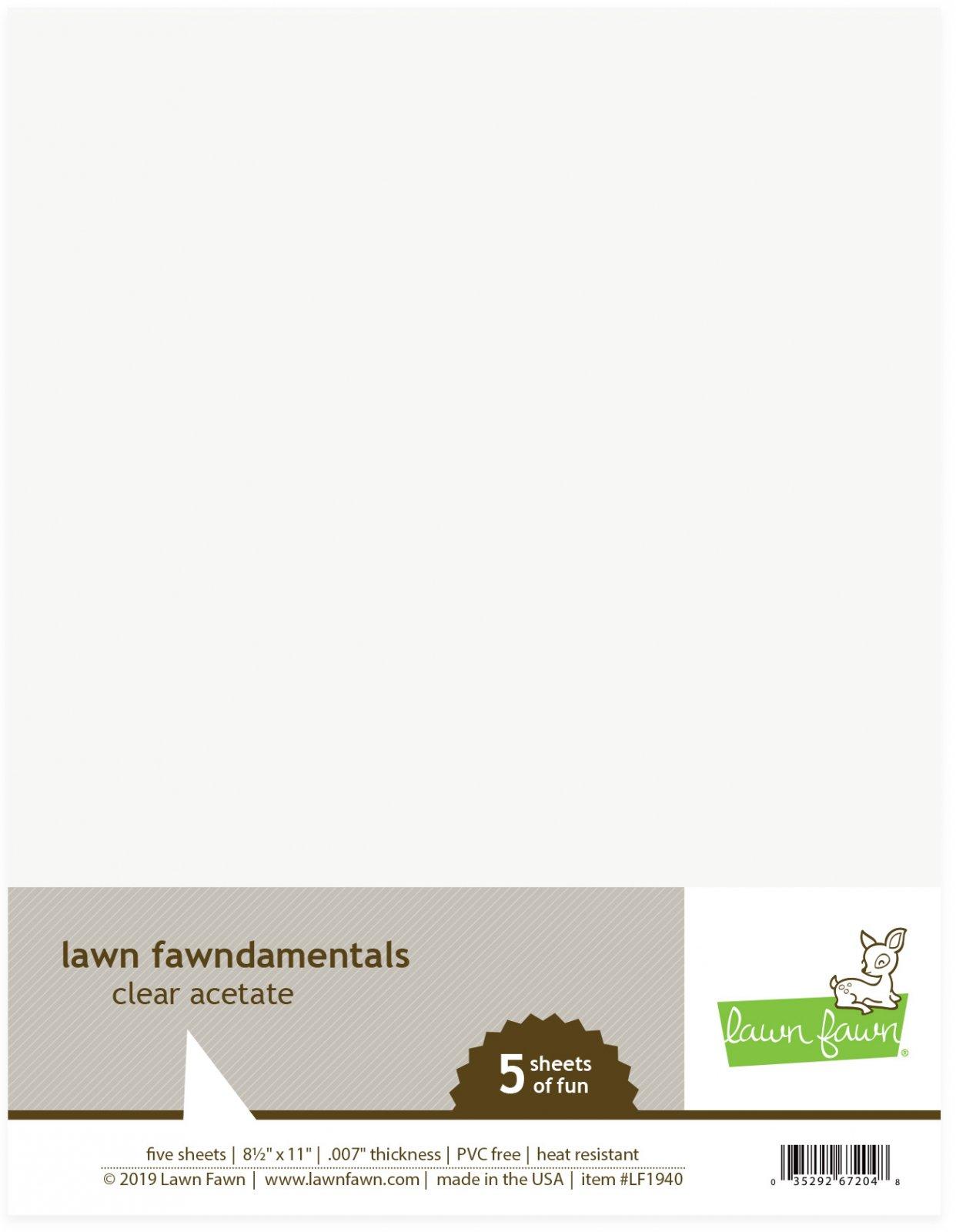 Lawn Fawn - Clear Acetate - 8.5 x 11, 5/pkg