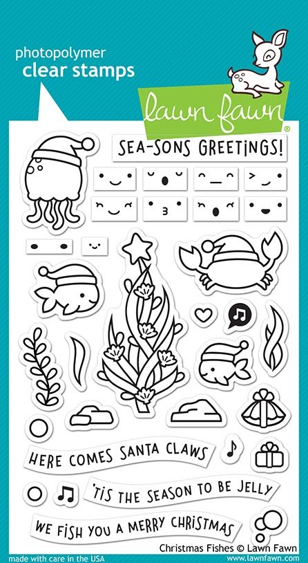 Lawn Fawn - Clear Stamp -  Christmas Fishes