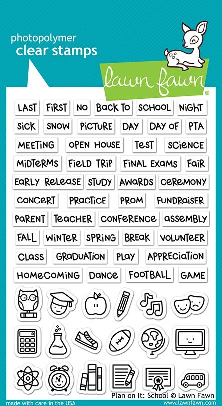 Lawn Fawn - Clear Stamp - Plan on It:  School