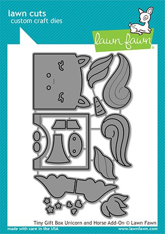 Lawn Fawn Lawn Cuts - Tiny Gift Box Unicorn and Horse Add-On Dies