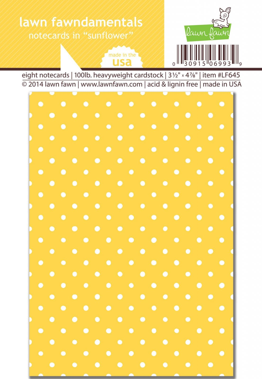 ^Lawn Fawn - Notecards - Sunflower, 8/pkg