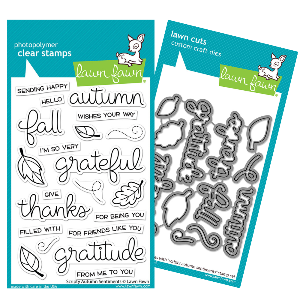 Lawn Fawn - Scripty Autumn Sentiments - Stamp and Die BUNDLE