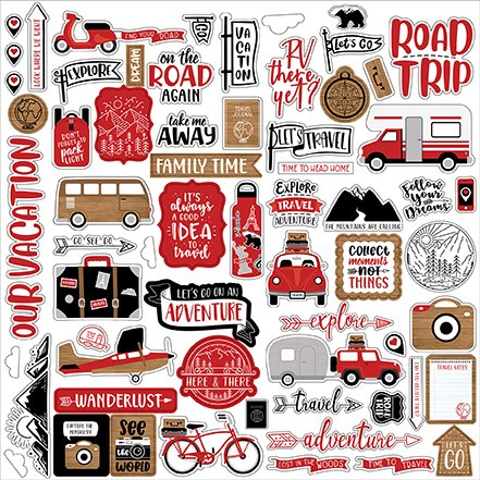 Echo Park - Let's Go Anywhere - 12x12 Element Sticker Sheet