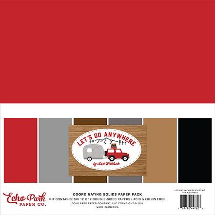 Echo Park - Let's Go Anywhere - 12x12 Coordinating Solids Paper Pack