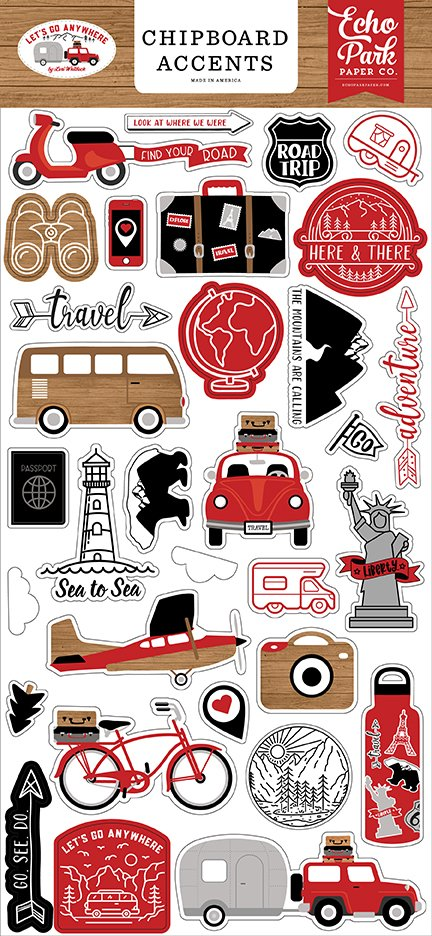 Echo Park - Let's Go Anywhere - Chipboard Accents