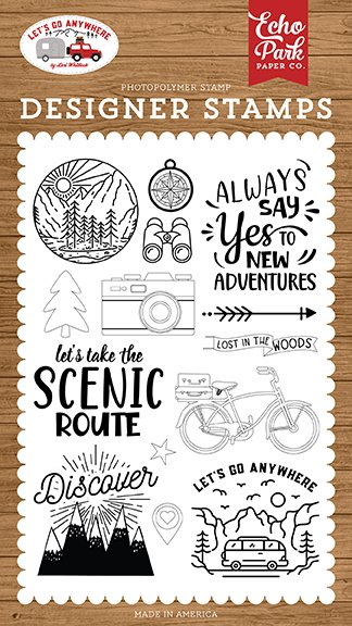 Echo Park - Stamps - Let's Go Anywhere - New Adventures
