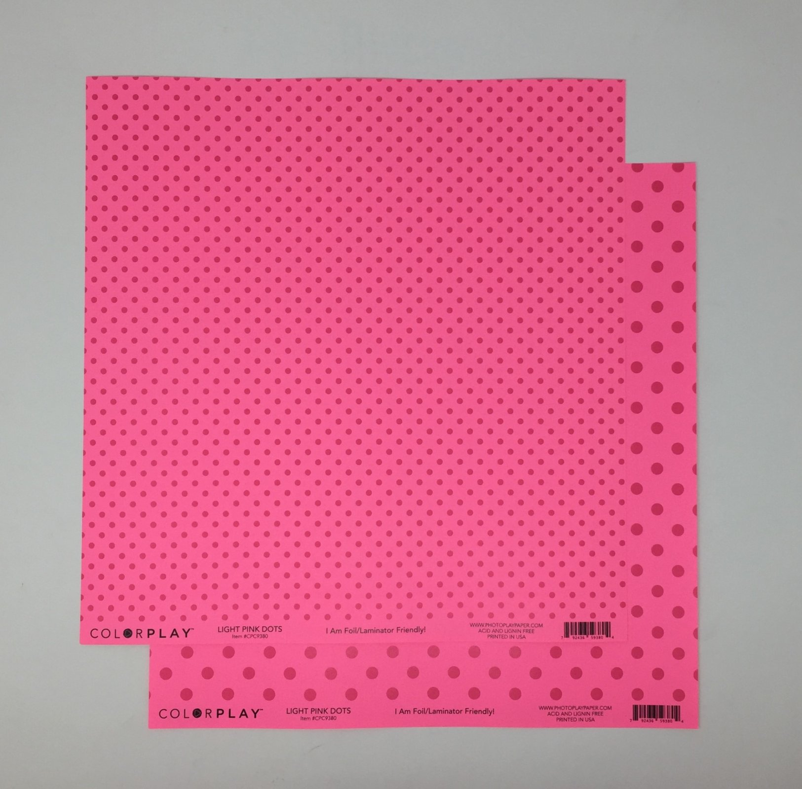 ^ColorPlay 12x12 Cardstock - Light Pink Dots (CLEARANCE)