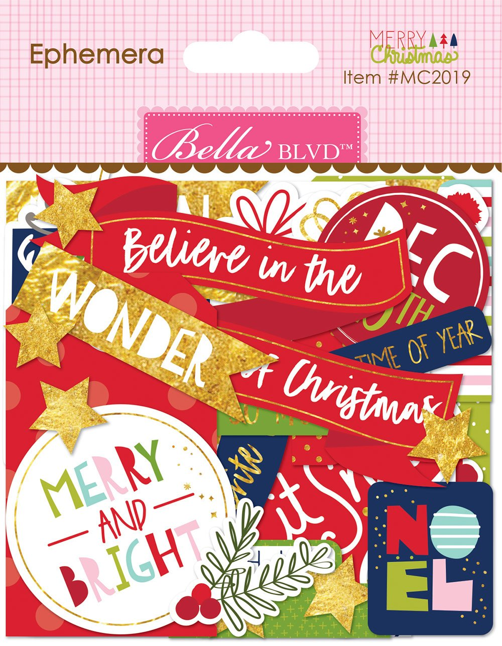 Bella Blvd - Merry Christmas - Ephemera Words with Gold Foil