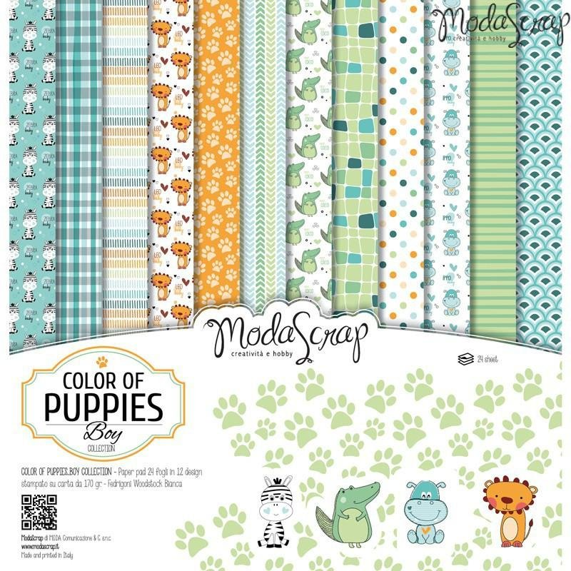 Moda Scrap - Color of Puppies Boy Collection - 12x12 Paper Pack