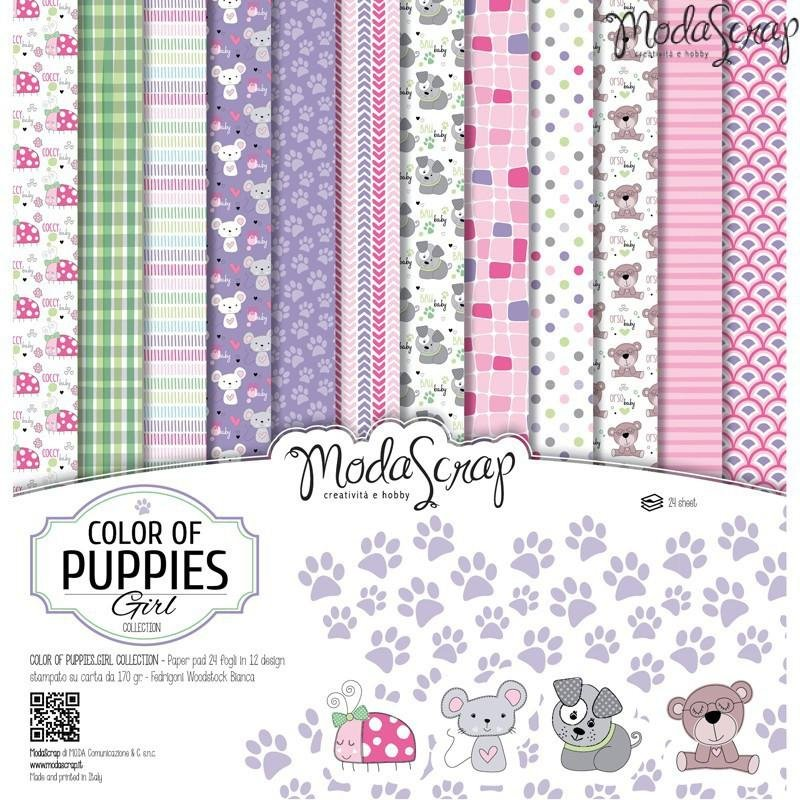 Moda Scrap - Color of Puppies Girl Collection - 12x12 Paper Pack