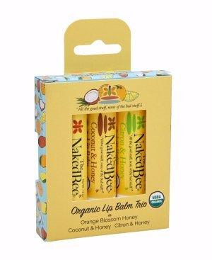 Naked Bee Organic Lip Balm Trio - Orange Blossom Honey, Coconut & Honey, Citron & Honey