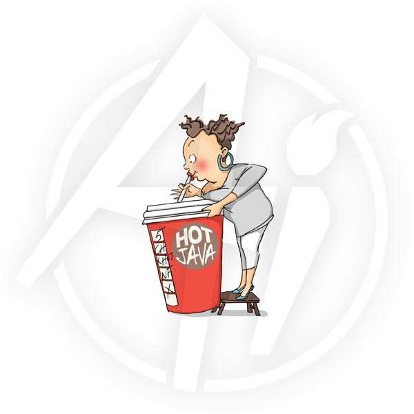AI -  People Cling Rubber Stamp Cathy Caffeine (P4327)