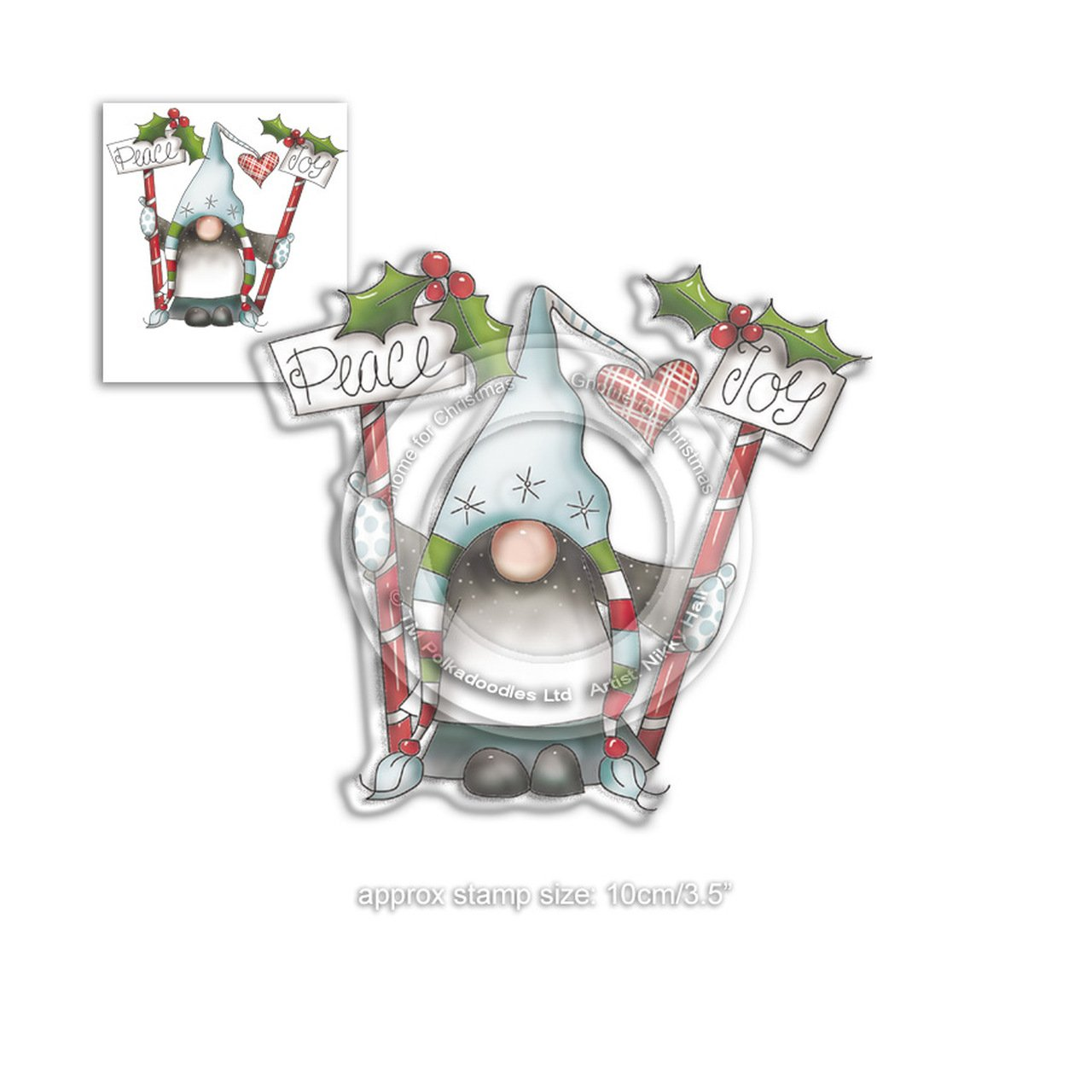 Polkadoodles - Stamps - PEACE AND JOY - Gnome For Christmas Collection