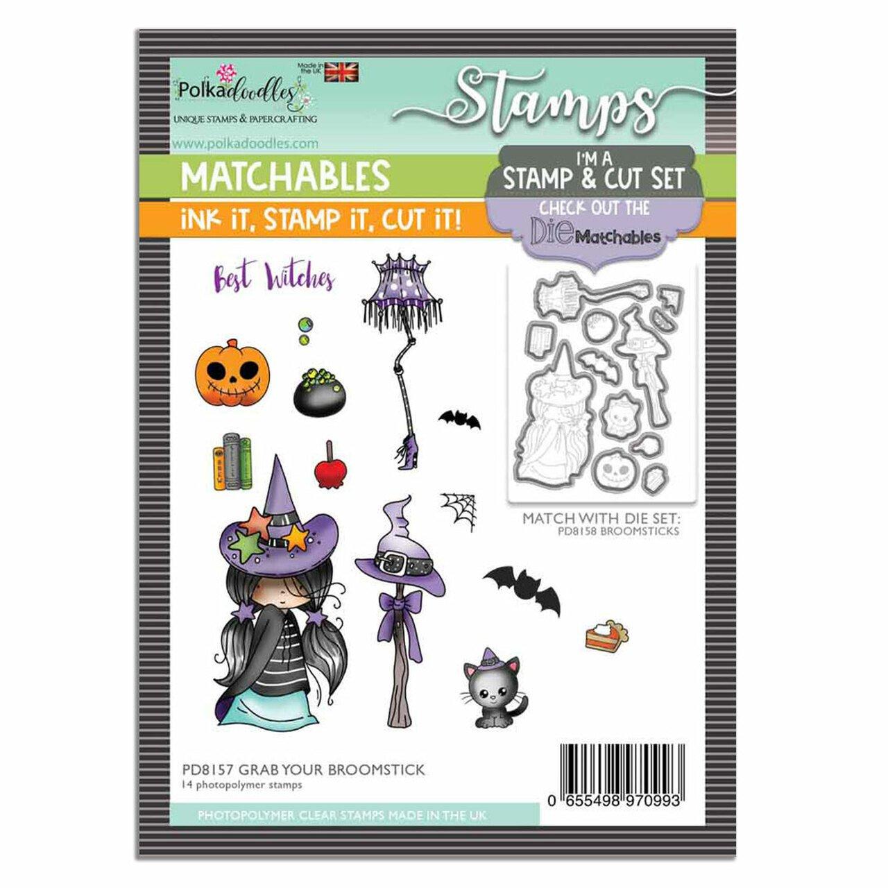Polkadoodles - Stamps - Grab Your Broomstick