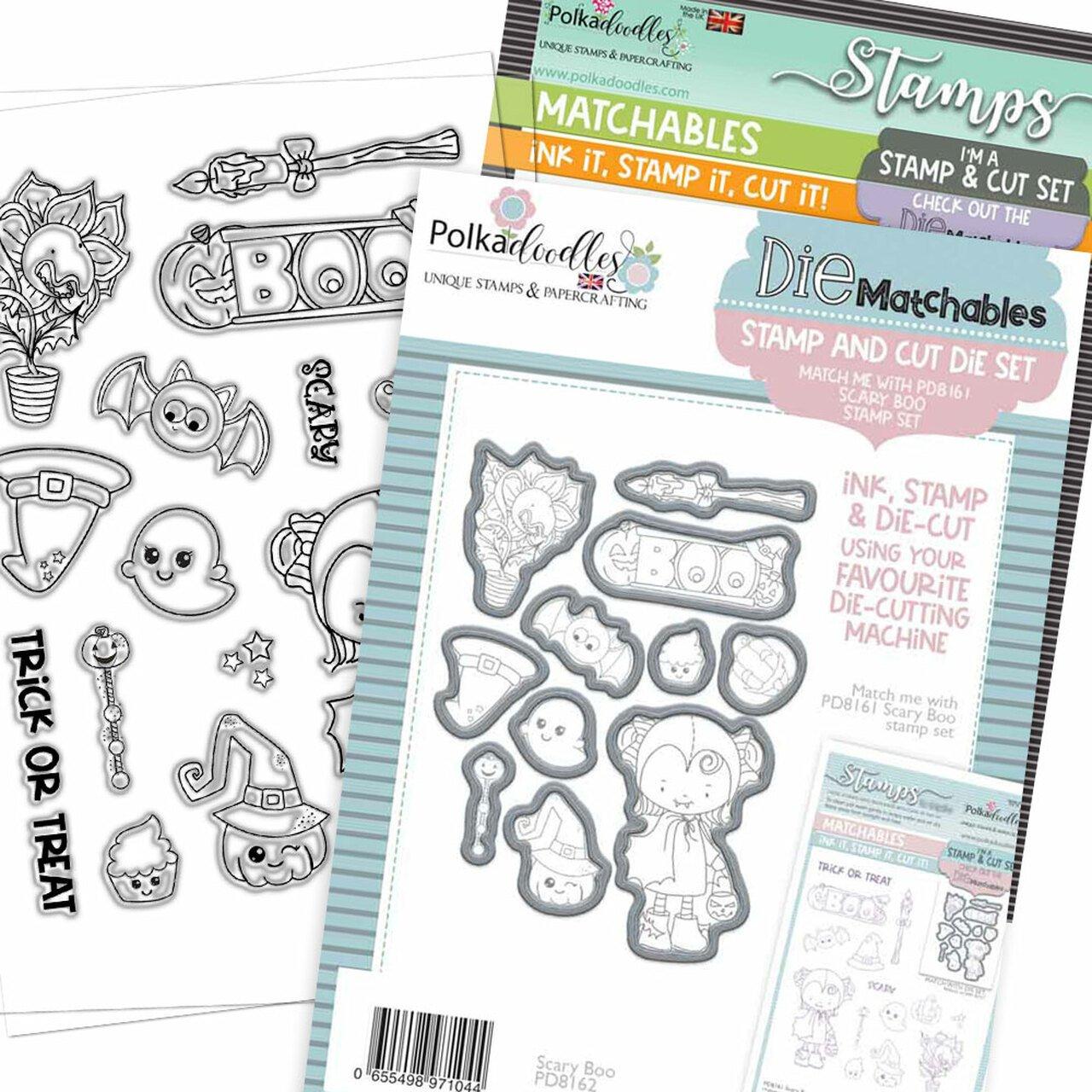 Polkadoodles - Scary Boo - Stamp and Die BUNDLE