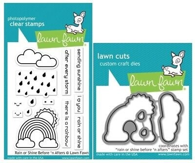 Lawn Fawn - Rain or Shine Before 'n After Stamp and Die Combo
