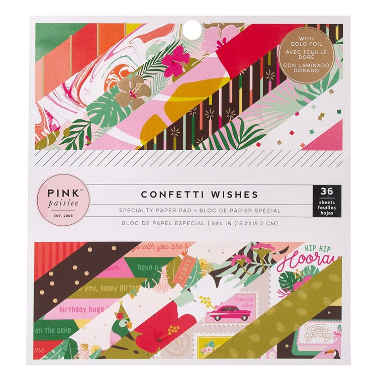 ^Pink Paislee - Confetti Wishes Collection - 6x6 Paper Pad with Foil Accents