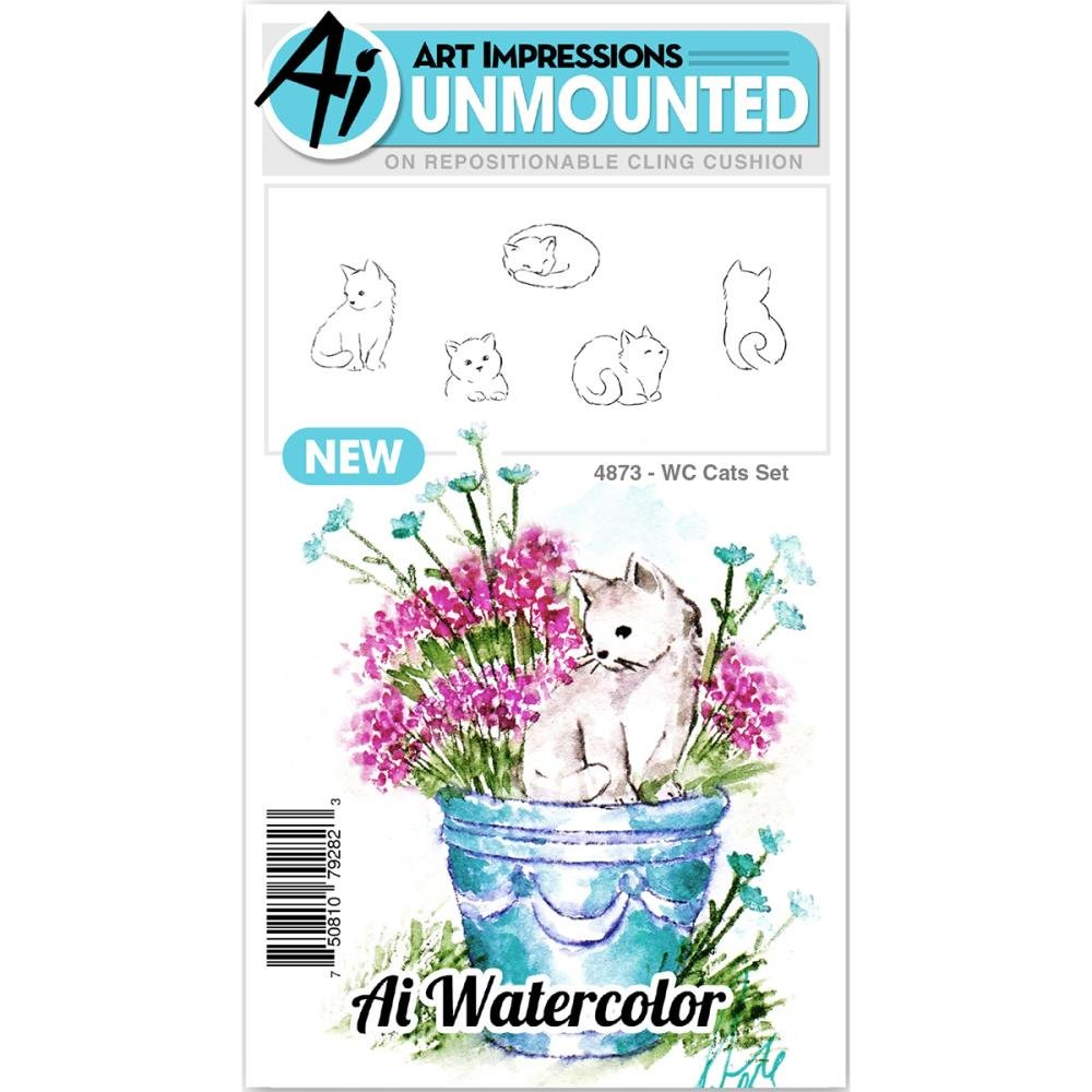 AI - Watercolor Stamp Set - Cats (WC4873)