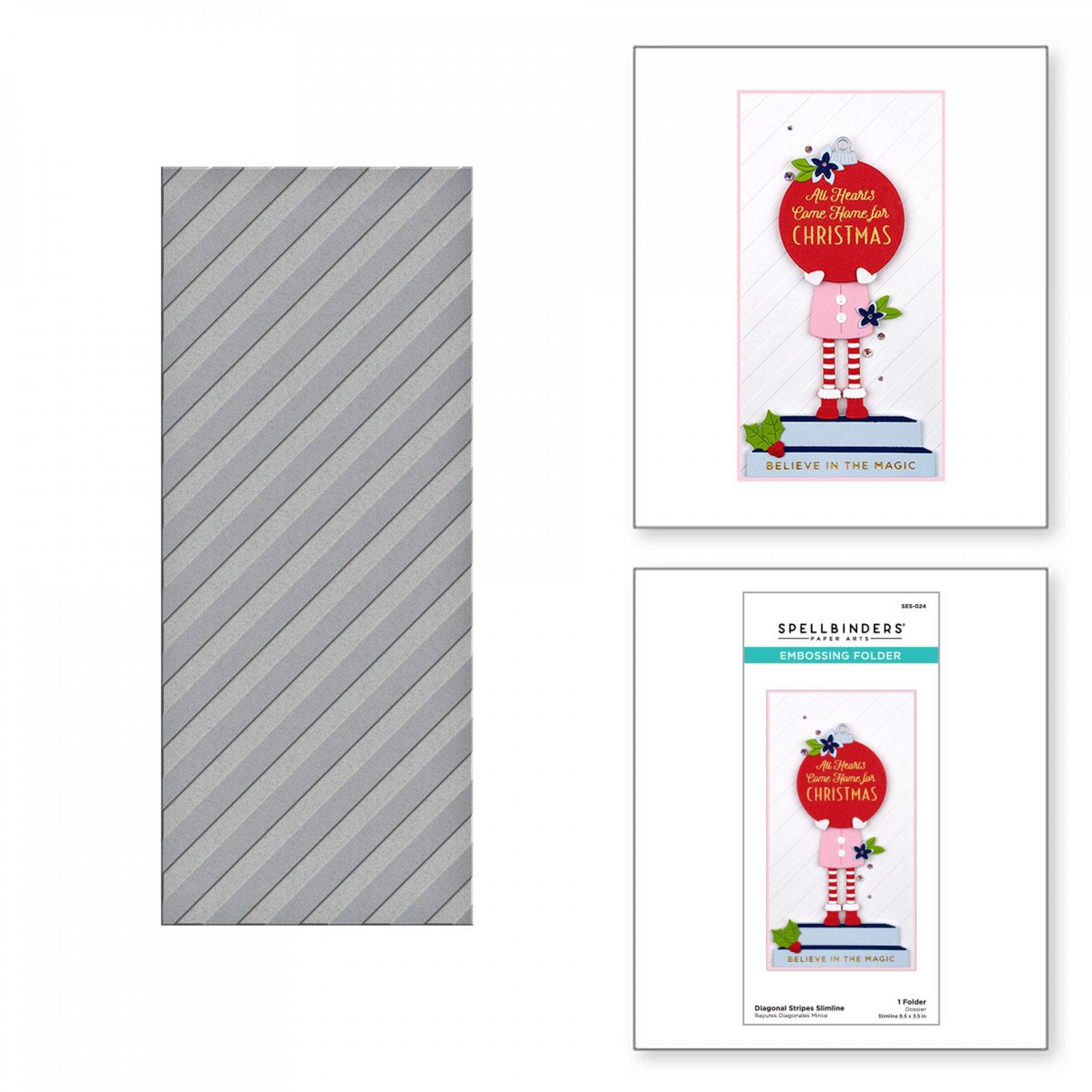 Spellbinders - Embossing Folder - Diagonal Stripes Slimline